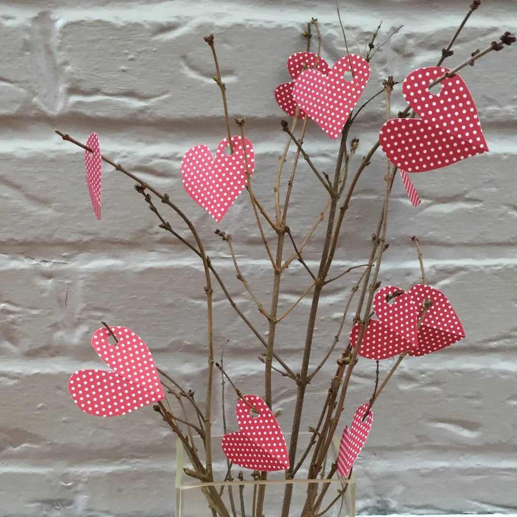 paper love heart tree, valentine crafts for kids
