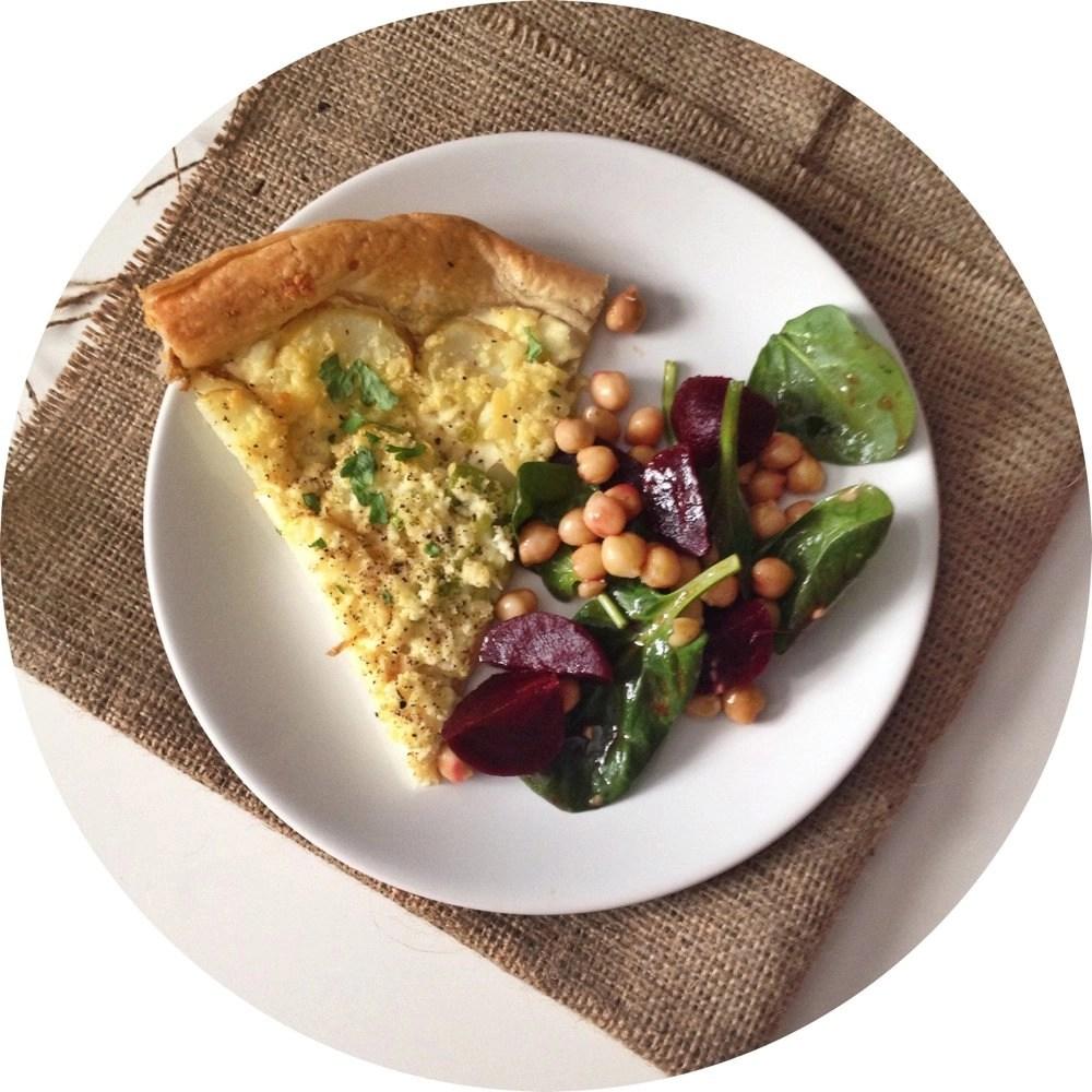new potato and cheese tart recipe, quick tart recipe, vegetarian tart recipe, easy family food from daisies and pie