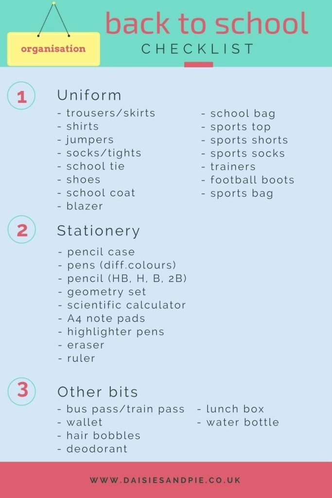 back to school checklist, free printable back to school checklist, printable checklist, home organisation
