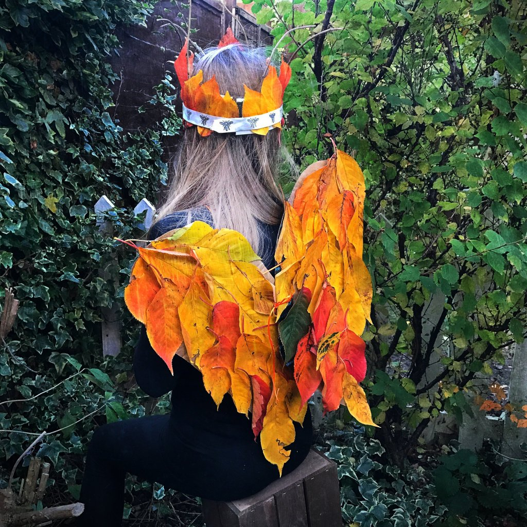 autumn angel wings, autumn nature crafts for kids, leaf crafts for kids, easy crafts for kids