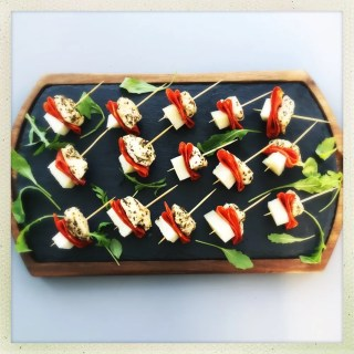 chicken chorizo and manchego bites, party canapés, easy party food recipe, christmas party food ideas