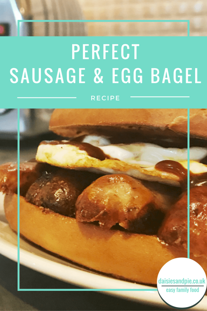 sausage and egg bagel recipe, brunch sandwich recipes, sausage recipes, easy family food from daisies and pie