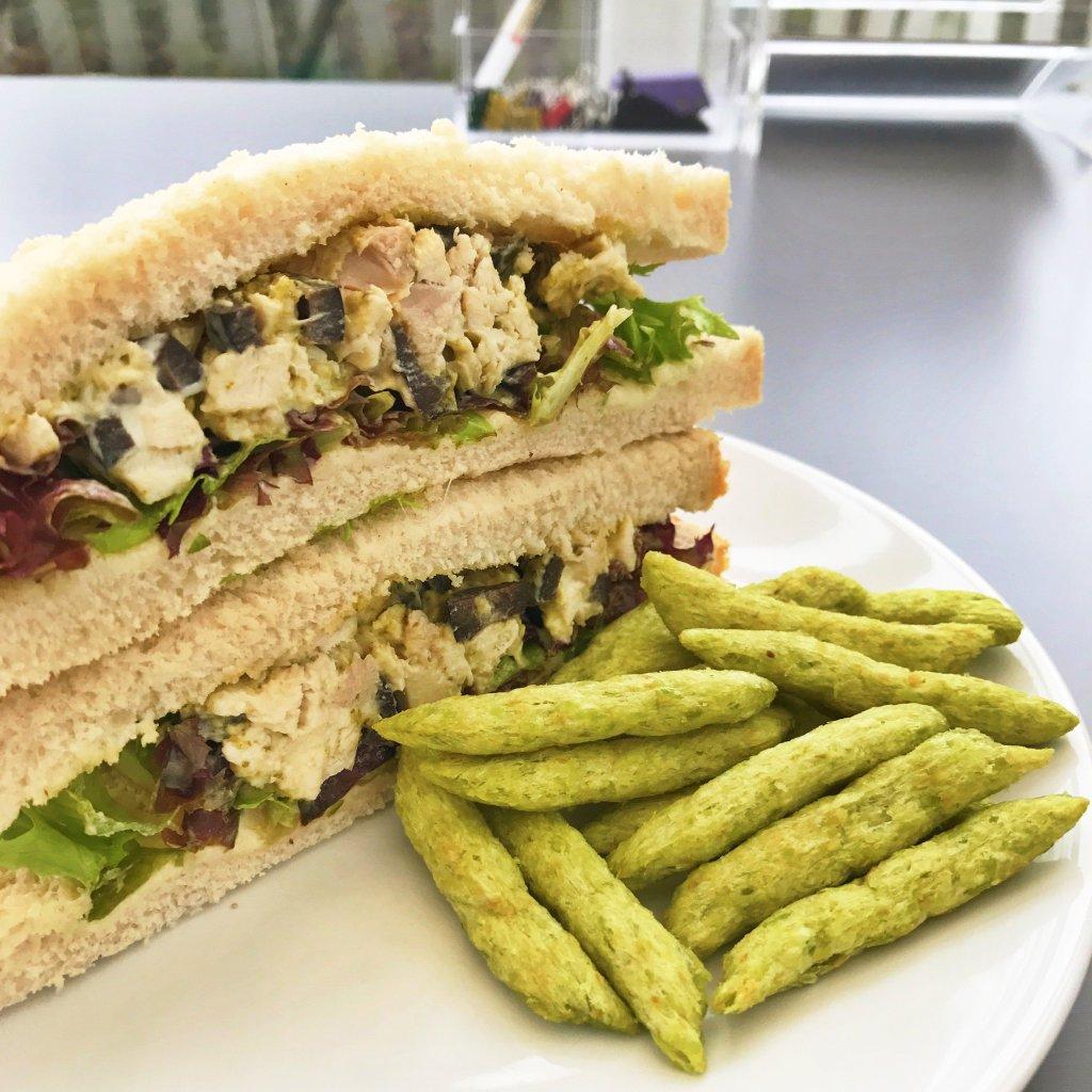 Pesto chicken salad sandwich