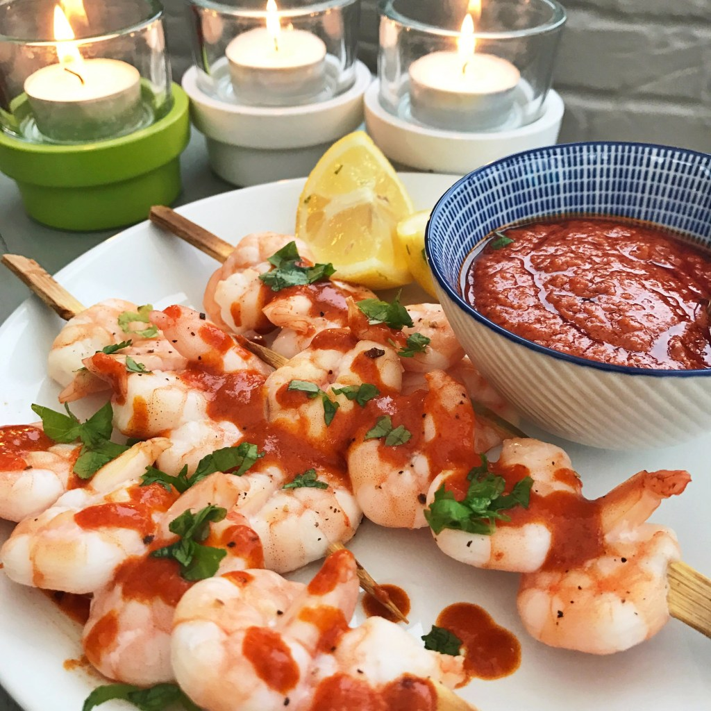 Prawn skewers with Mojo Picon