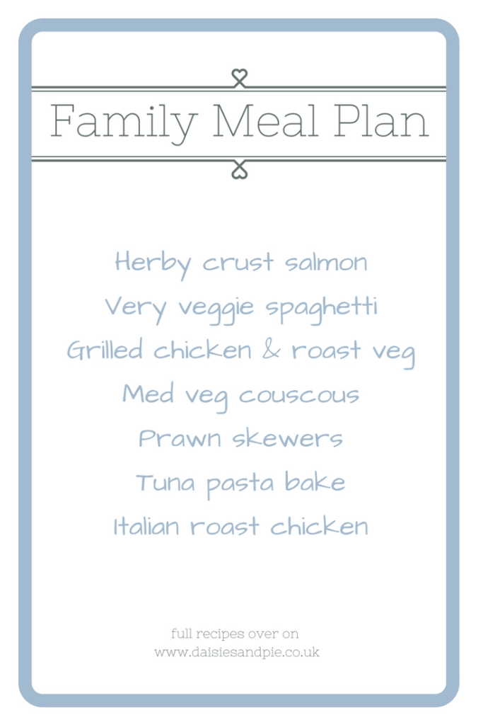 Weekly family meal plan filled with healthy family dinner recipes, easy family food from daisies and pie