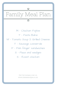 Meal planning tips, how to meal plan with dinner theme days, easy family food from daisies and pie