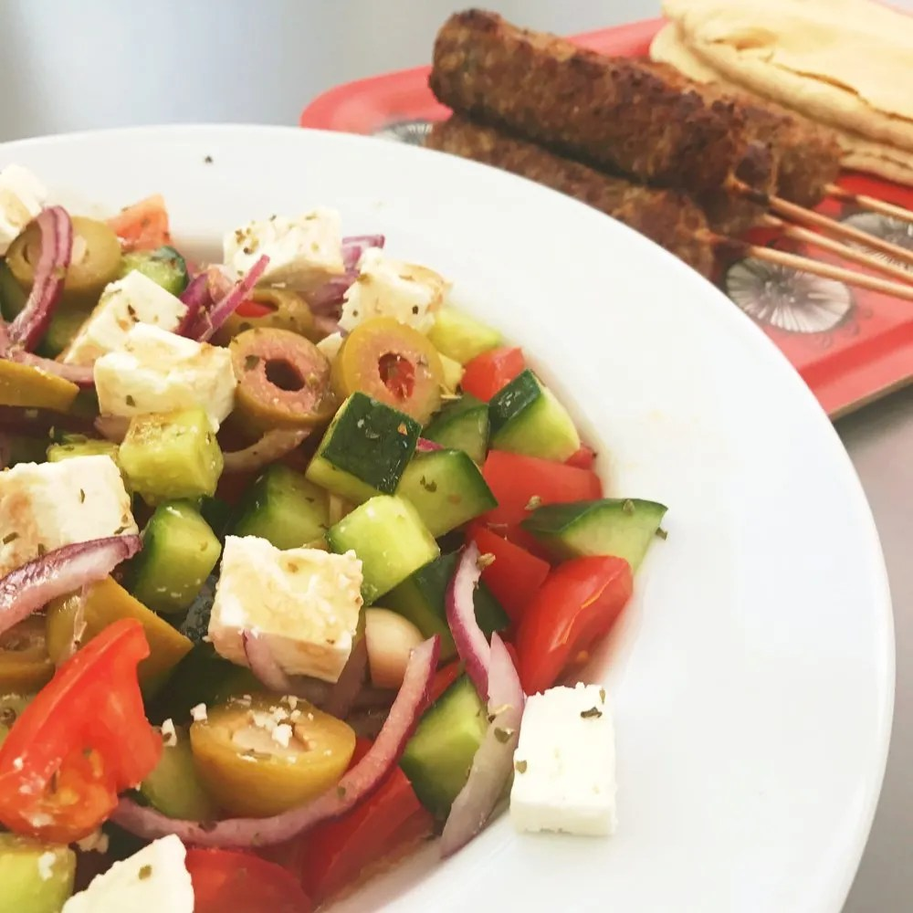 lamb kebabs and greek salad, quick meal ideas with lamb, midweek dinner, easy family food