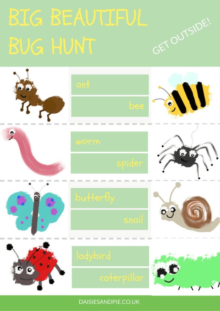 Garden bug hunt printable, preschool bug hunt printable checklist, bug hunt sheet, outdoor activities for kids, summer fun for kids
