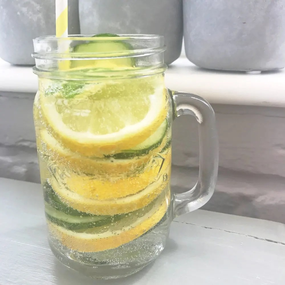 Lemon, cucumber and mint infused water, summer drinks