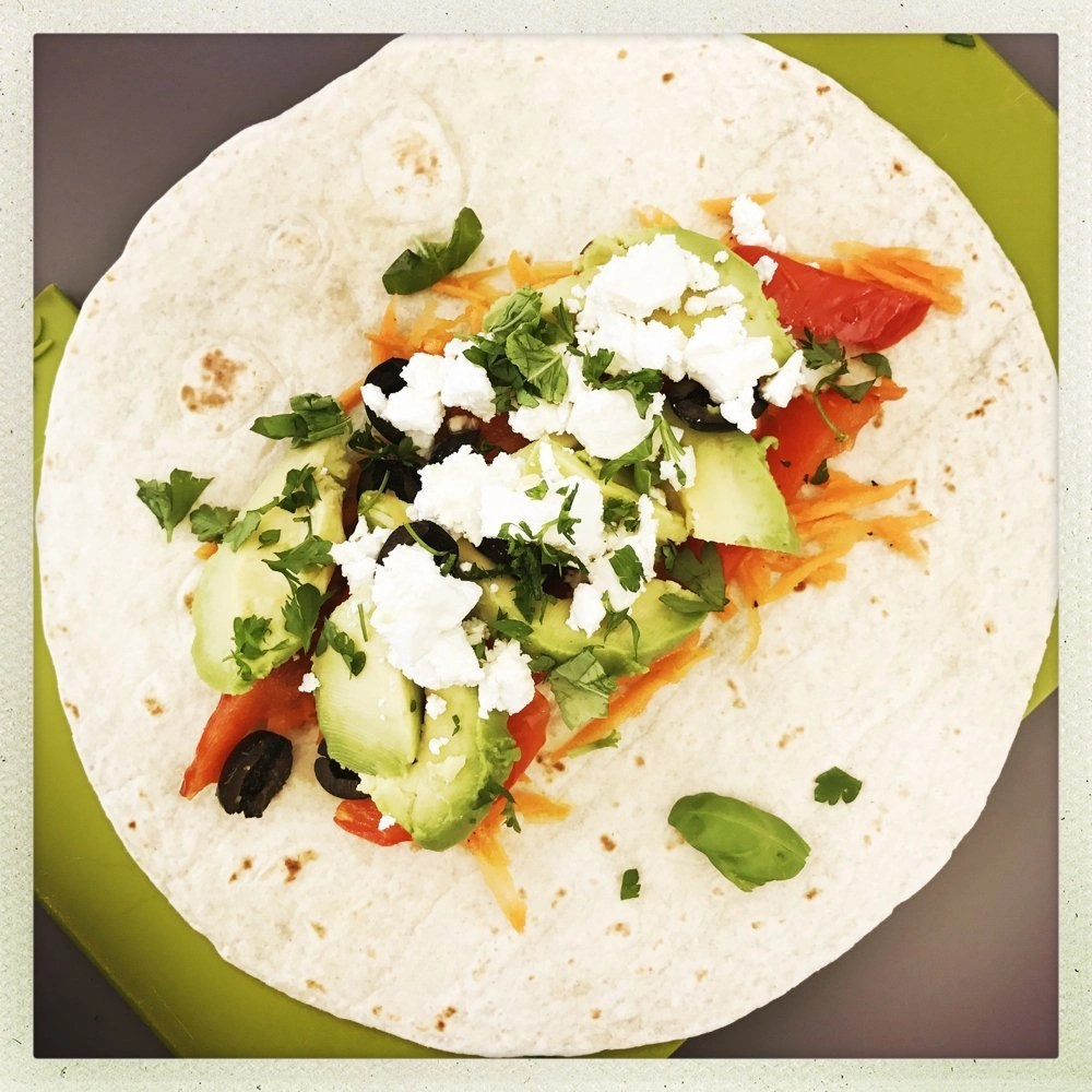 Feta and Veggie Wrap with Carrot Slaw