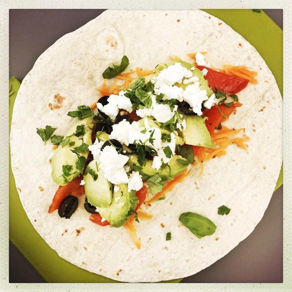Feta and Veggie Wrap with Carrot Slaw, healthy vegetarian sandwich recipes, easy lunch ideas