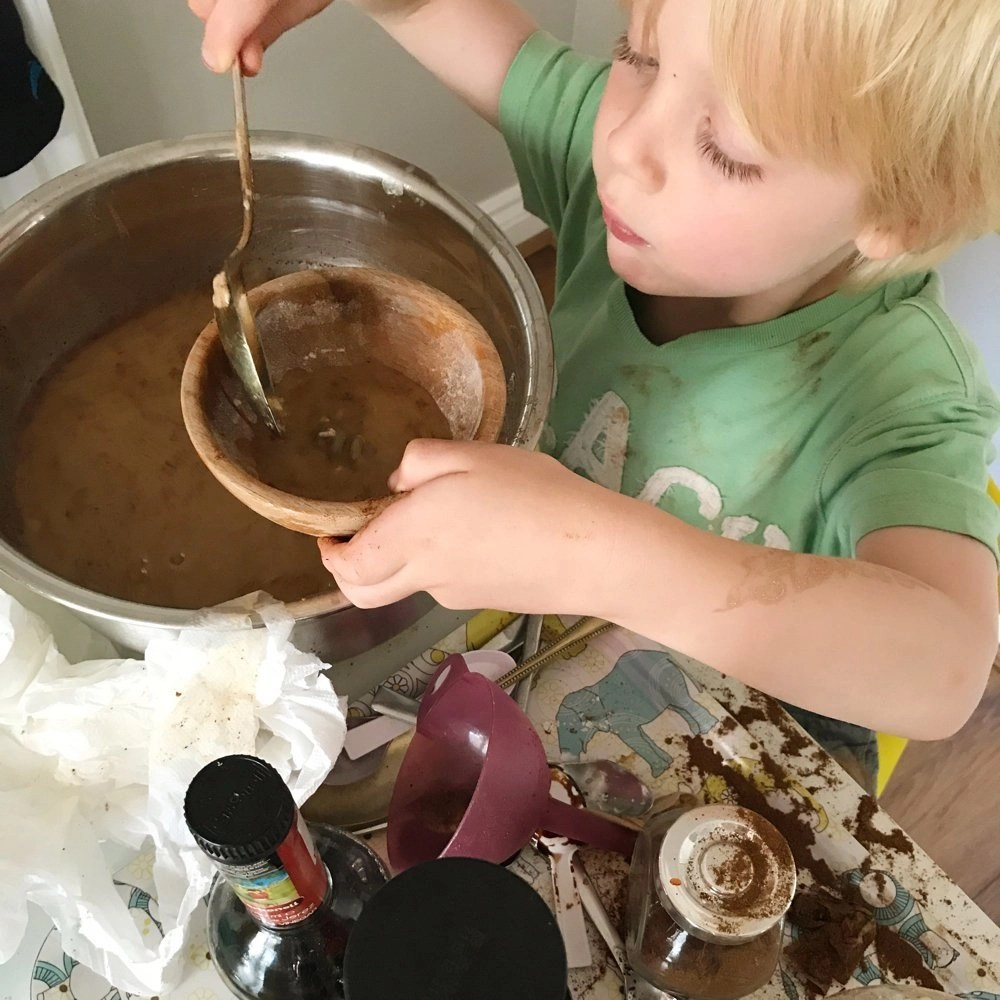 George's Marvellous Medicine inspired play activity, rainy day activity for kids, sensory play activity,