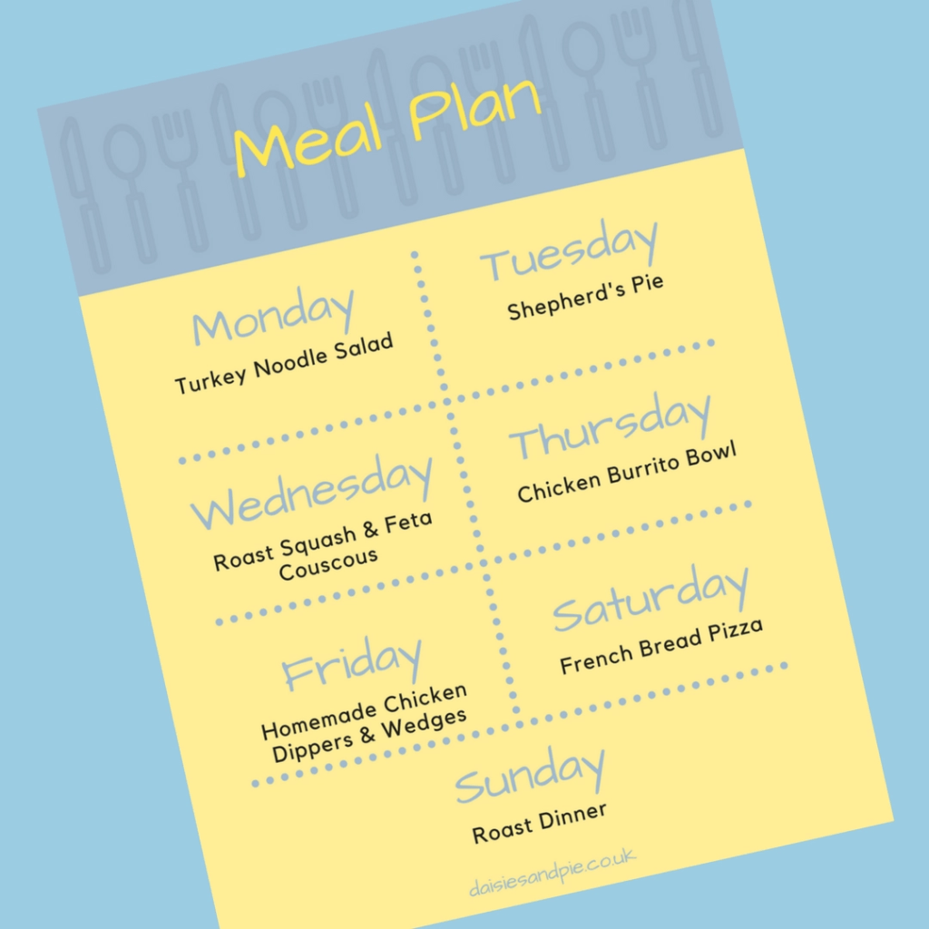 Weekly Family Meal Plan 27th November 2017