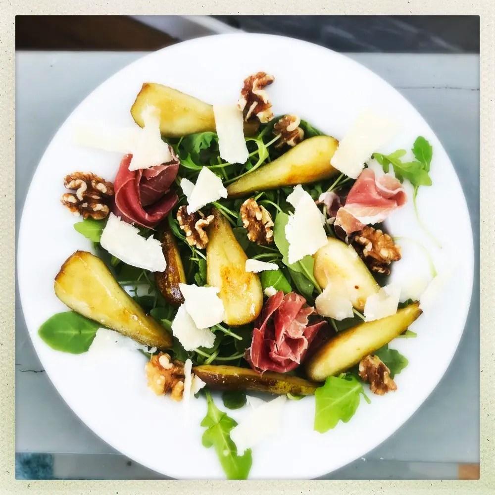 Pear, prosciutto and walnut salad