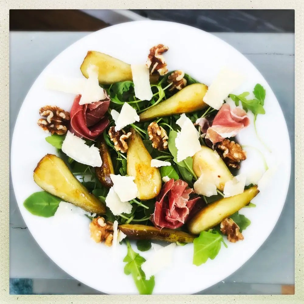 Pear Prosciutto and Walnut salad, Italian salad recipes, light Italian recipes