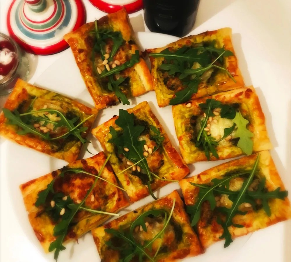Puff pastry pesto bites, festive appetiser recipes, Christmas party food ideas