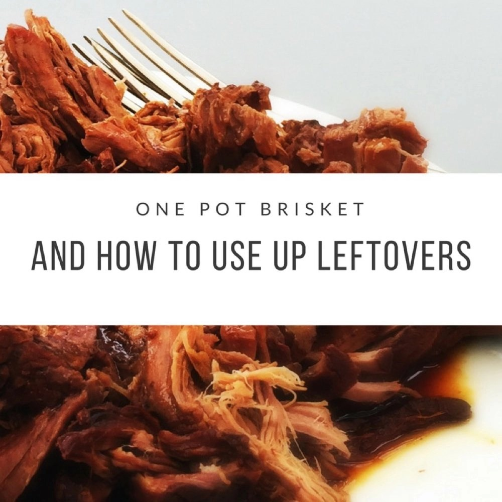"white plate piled hight with slow cooker pulled brisket with silver fork to the side. Text overlay saying ""one pot brisket and how to use up leftovers"""