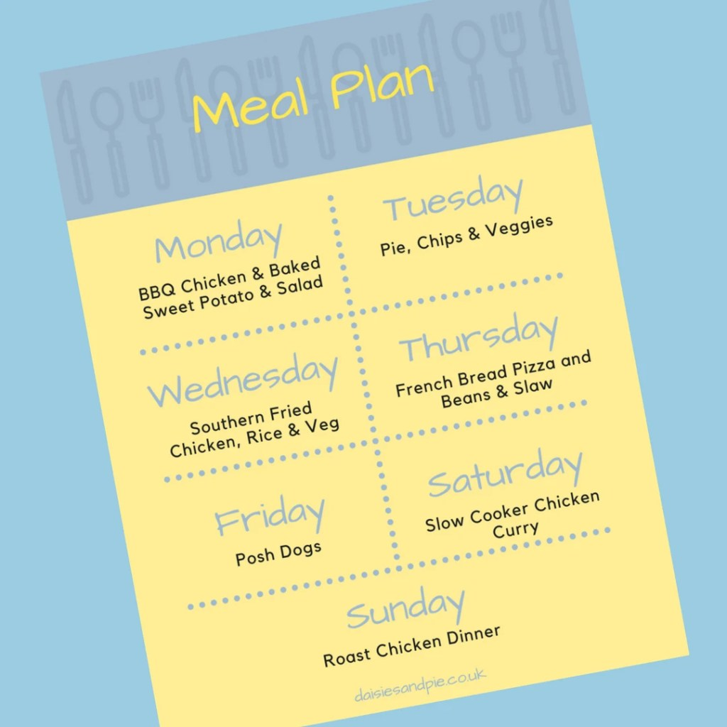 Family Meal Plan 5th March 2018