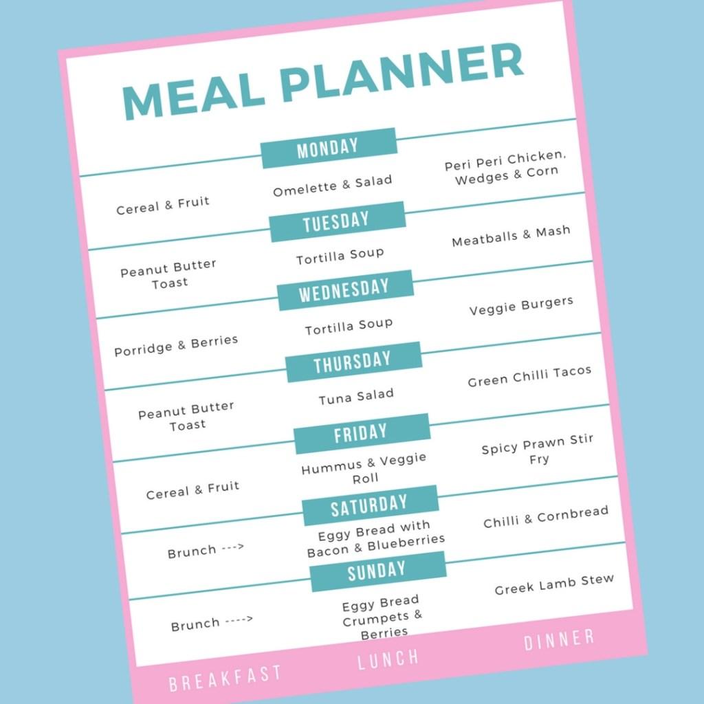 Family Meal Plan 23rd April 2018