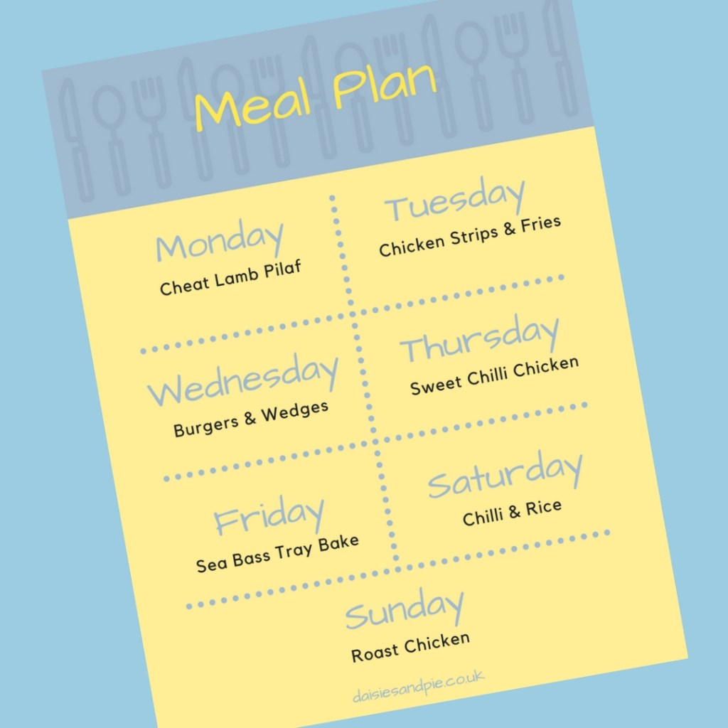 Family Meal Plan 2nd April 2018