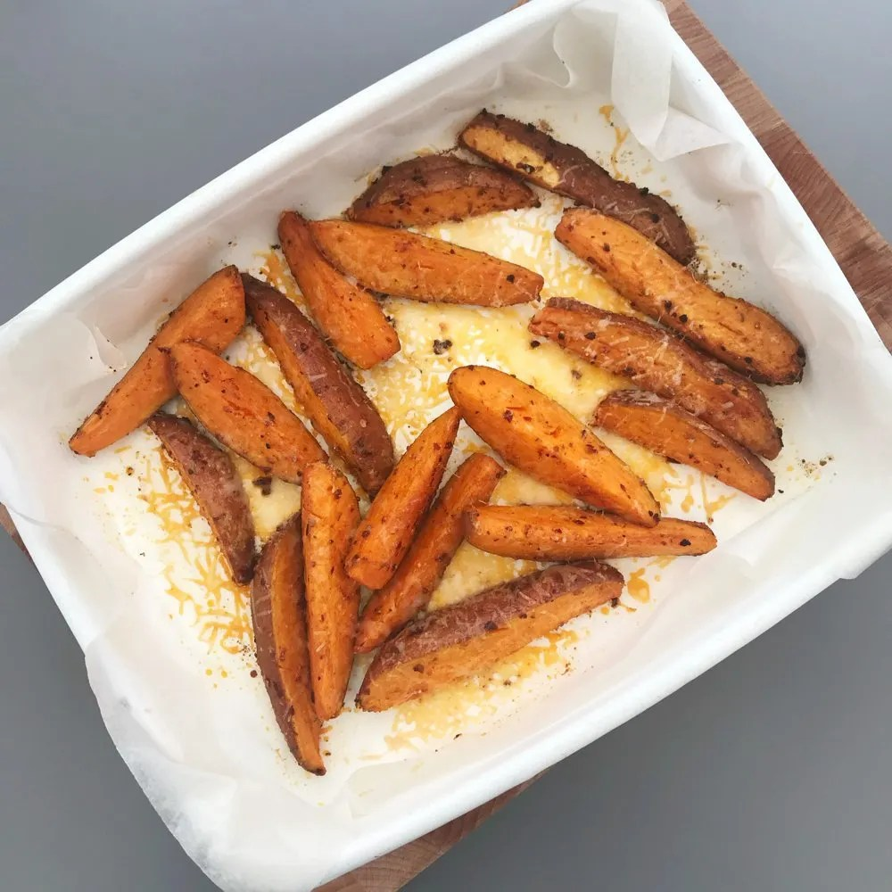 Cheesy Piri Piri Sweet Potato Wedges