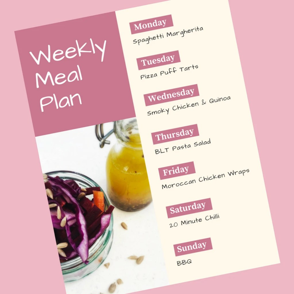 Weekly Family Meal Plan 4th June 2018