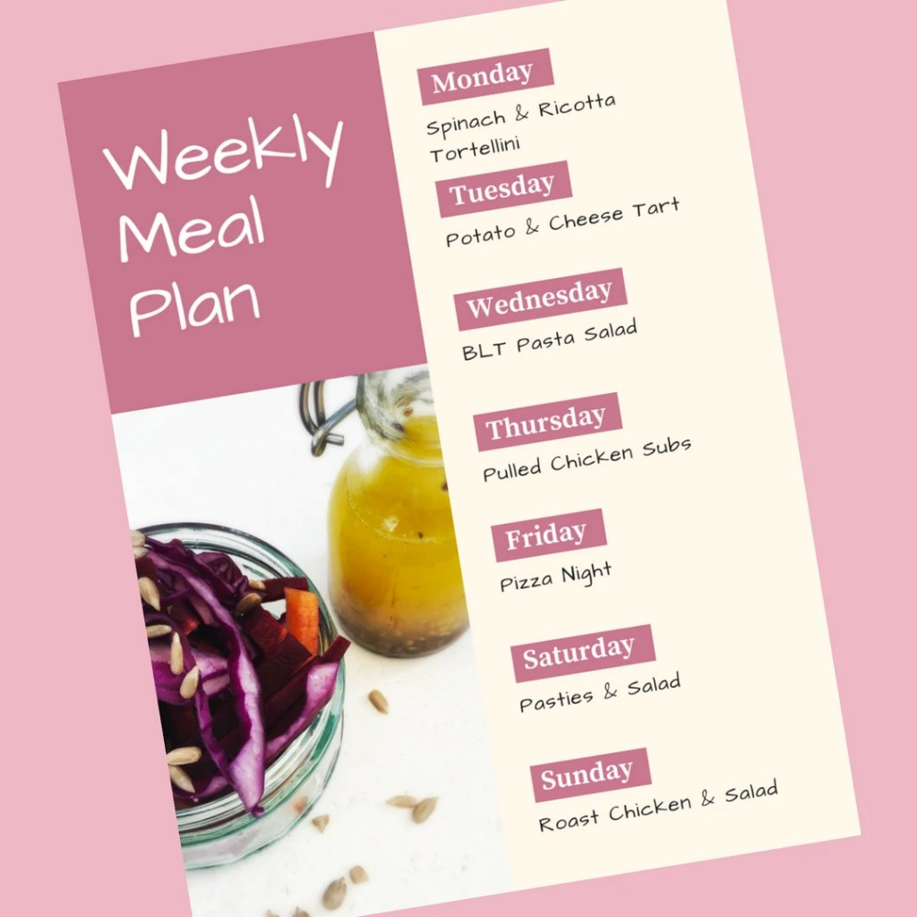 Family Meal Plan 2nd July 2018