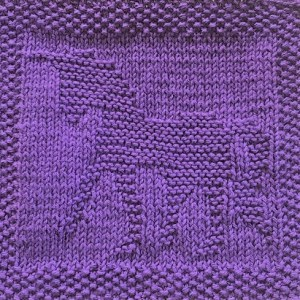 Free knitting pattern for unicorn washcloth or afghan square