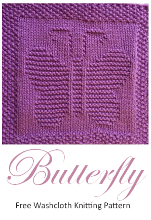 Free knitting pattern butterfly washcloth afghan square