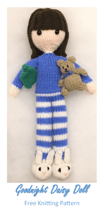 Goodnight Daisy Doll Free Knitting Pattern Includes Tiny Teddy