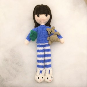Free doll knitting pattern with little teddy bear and bunny slippers