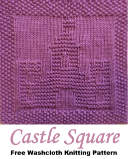 Castle Free Washcloth Dishcloth Afghan Square Knitting Pattern