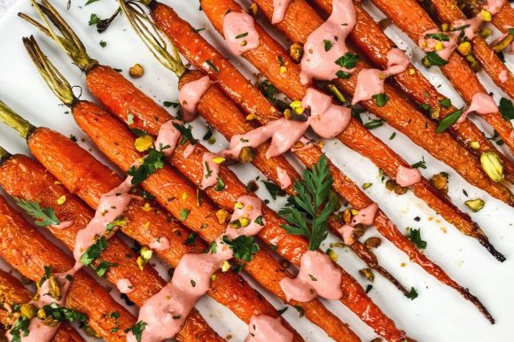 Maple Roasted Carrots with Ginger Beet Tahini Sauce