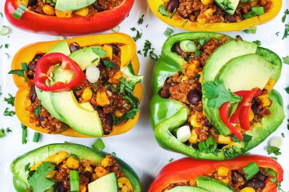 Quinoa Enchilada Stuffed Peppers (Vegan, Gluten Free)