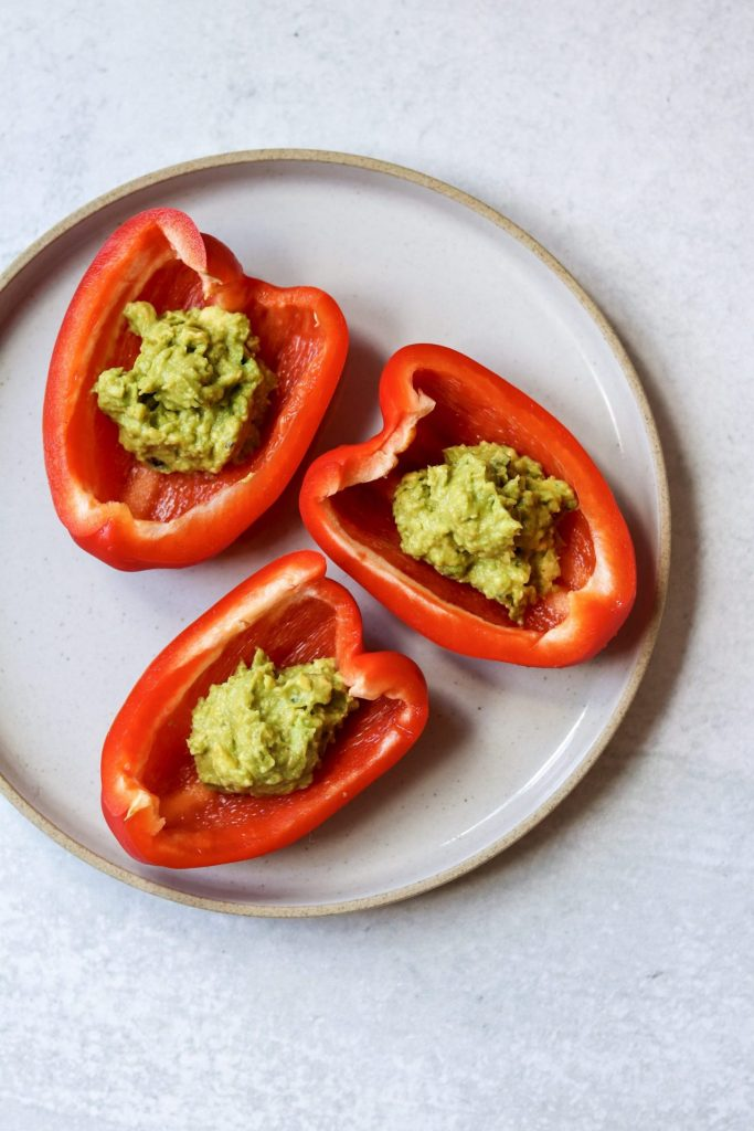 bell pepper and guacamole healthy snack idea