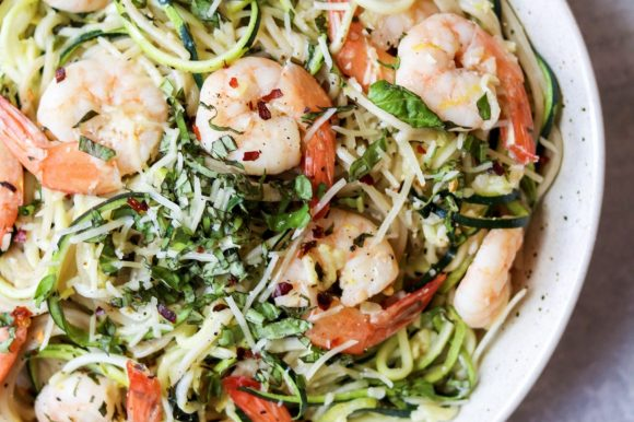 Shrimp Scampi Zoodles and Noodles (Gluten Free)