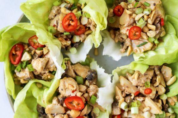 Peanut Tofu Lettuce Wraps (Vegan, Gluten Free)
