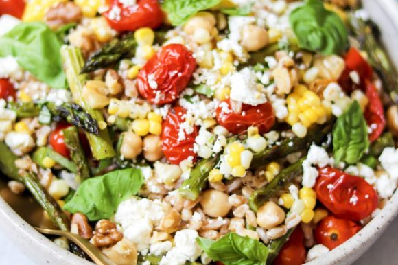 Farro Salad with Roasted Vegetables and Feta Cheese