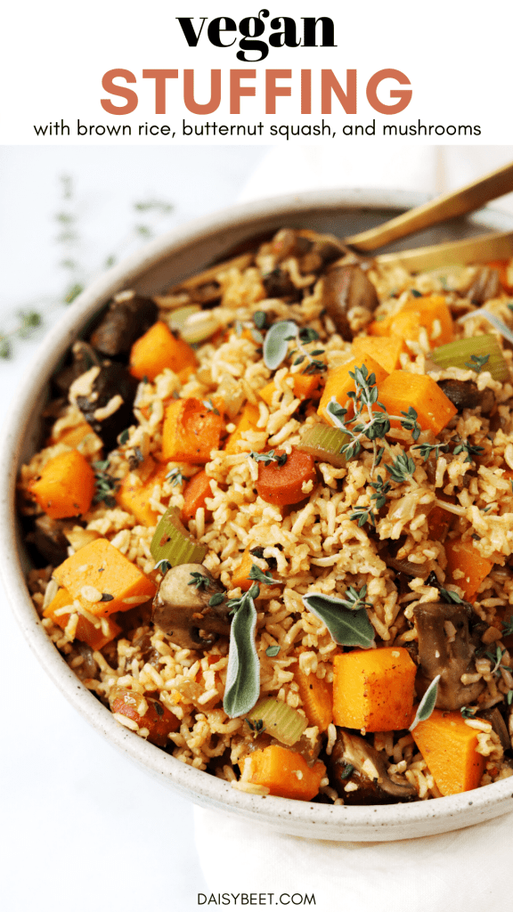 Vegan Stuffing with Brown Rice, Butternut Squash, and Mushrooms - Daisybeet