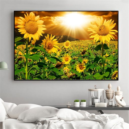 Sunflower Painting Rustic Home Decor Wall Pictures For Living Room Kitchen Decoration Landscape Poster Art Print Daisy S Corners