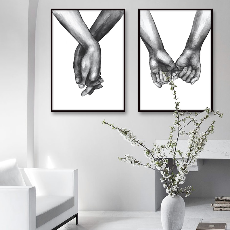 Nordic Posters Prints Holding Hands Canvas Painting Wall Art Black And White Decoration Wall Pictures For Living Room Love Quote Daisy S Corners