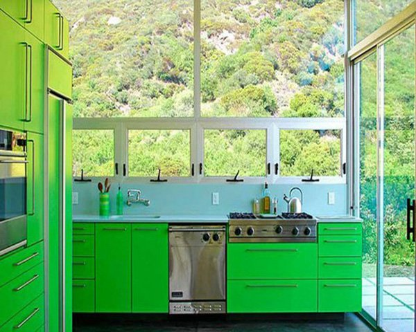 Electric Yellow-Green Kitchen Wall Color