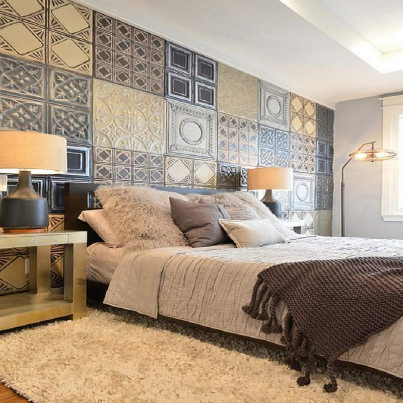 Hammered Tin Tiles in a Bedroom