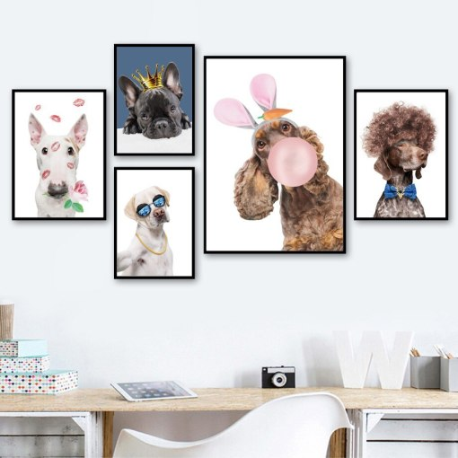 Balloon Labrador Bull Terrier bulldog Dog Wall Art Canvas Painting Posters And Prints Wall Pictures Baby Kids Room Wall Decor $10.00 – $72.69
