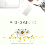 """Laptop keyboard next to cup of tea, macaroons and pink tulips with text overlay """"Welcome to Daisy Grace Creative"""""""