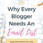 """Keyboard and blue and white checked mug with text overlay """"Why Every Blogger Needs An Email List"""""""