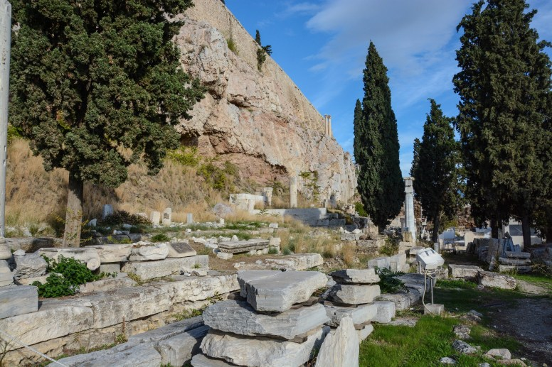 Looking up towards the Acropolis wall
