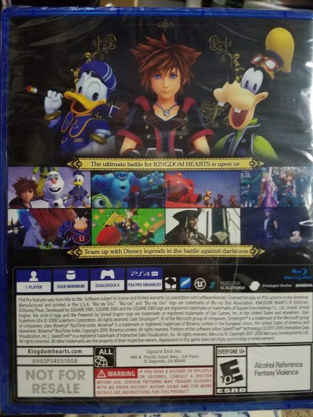 Kingdom Hearts III game back