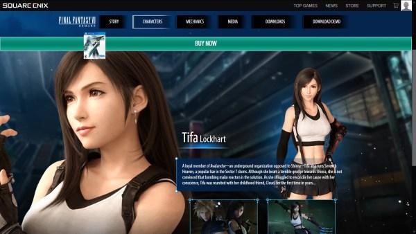 Final Fantasy VII Remake Tifa website