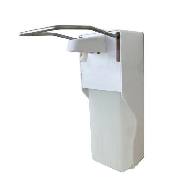Ellbogenspender zur Wandmontage aus Aluminium mit 500 ml Flüssigkeitsbehälter, Artikelnummer DKT-D1101